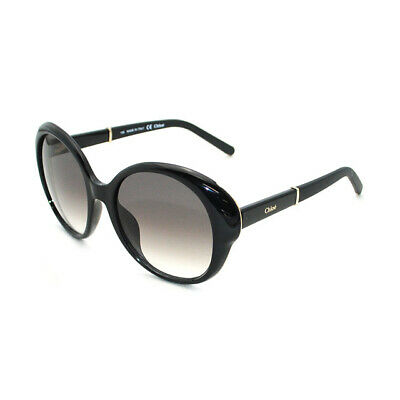 a8408dae293 AUTHENTIC CHLOE Sunglasses 649s Black Gold Round Rimmed Metal Oval Womens