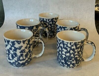 Folk Craft Hearts by Tienshan Coffee Mugs Lot of 5 Blue and White Sponge Pattern