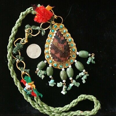 """Vintage temple necklace? brass fabric turquoise, stone, pearl pendant approx 27"""""""
