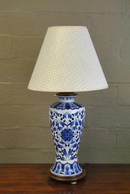 """Asian Style Blue & White Urn Form Ceramic Table Lamp 30""""H"""