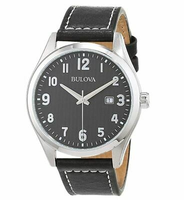 Bulova Classic Men's Quartz Black Dial Black Leather Strap 42mm Watch 96B299