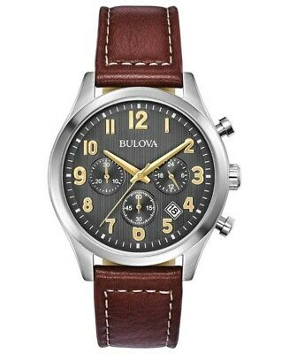 Bulova Men's Quartz Chronograph Grey Dial Brown Leather Strap 42mm Watch 96B301