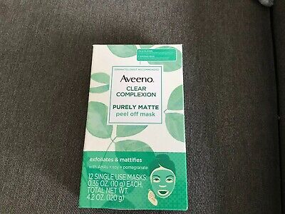 Lot Of 12 NEW Aveeno Peel Off Single Use Masks Peel Off Purely Matte Clear