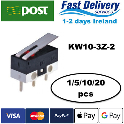 KW10-3Z-2 125V 2A 3Pin Terminals Momentary Lever Arm Micro Switch 1/5/10/20pcs