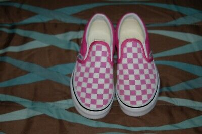 0d41ef5c90e002 GIRLS VAN S PINK Checkered Slip On Shoes Size 13 Barely Worn ...