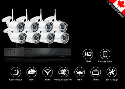1080P 8CH NVR 2MP HD Wireless Security Camera System Wifi Home IP CCTV KIT