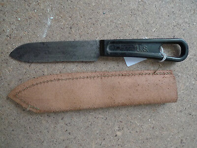 Wwii Gi Us Army Mess Knife+Cover Couteau Couvert+Bakelite Etui Materiel Original