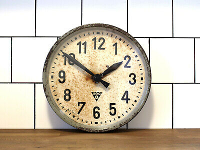 vintage patina 13 inch battery operated PRAGOTRON wall clock - industral loft