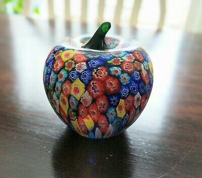 "Vintage 4"" Murano glass Apple Millefiori Paperweight, multi-colored collectible"