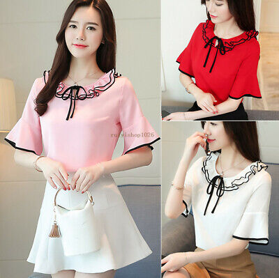 Fashion Women Ruffle Collar Summer Short Sleeve Casual Chiffon Shirt Blouse Tops