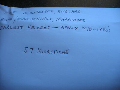 57 Microfiche For Gloucester England - Igi Birth/Christenings & Marriages