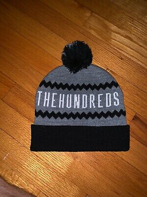 7945484ab43 The Hundreds 100% Acrylic Beanie Hat - Grey   Black - Adult One Size Fits