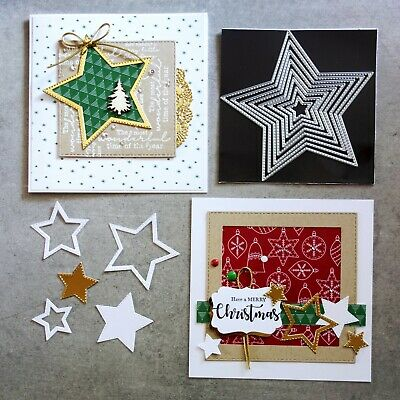 Shopaperartz STITCHED NESTED STARS CHRISTMAS BIRTHDAY MALE 8 PCE CUTTING DIES