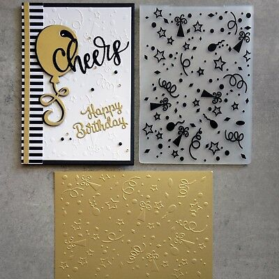 """Clearance"" Shopaperartz Birthday Confetti Celebration A2 Embossing Folder New"