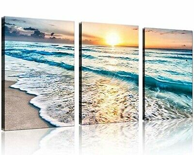 QICAI 3 Panel Canvas Wall Art Home Decor Blue Sea Sunset White Beach Painting