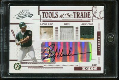 Rickey Henderson 2005 Absolute Tools of the Trade 1/1 Auto Glove Pants JE Patch