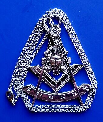 PAST MASTER SILVER Jewel with Chain Masonic Collar Regalia