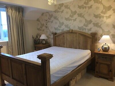 Solid Wood King Size Bed Frame And Side Cabinets Excellent Condition