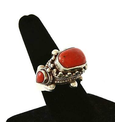 Vintage Chinese Tibetan Tibet Nepal Sterling Silver Coral Carved Adjustable Ring
