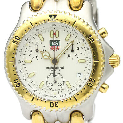 7c7bf7ba18d Polished TAG Heuer Sel Chronograph Gold Plated Steel Mens Watch CG1120  BF333457