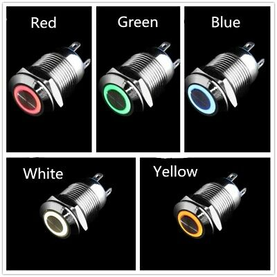 "12mm 0.47"" LED Light Metal Momentary/Latching Push Button Switch Car DIY Black"