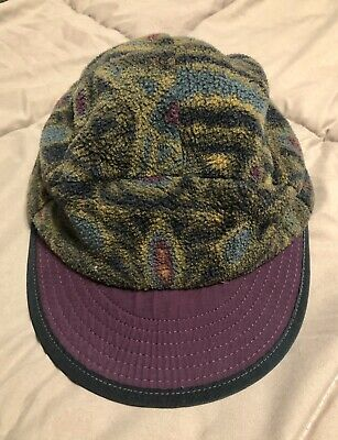 a968b0e8f69c9 PATAGONIA DUCK BILL Hat Cap Cycling Fleece Made In USA Vintage 90s ...