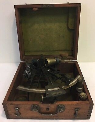 ANTIQUE SHIPS SEXTANT BY JOHN BRUCE in ORIGINAL CASE/BOX