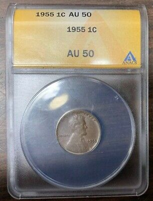 1955 Lincoln Wheat Penny Cent 1c~ANAC AU 50