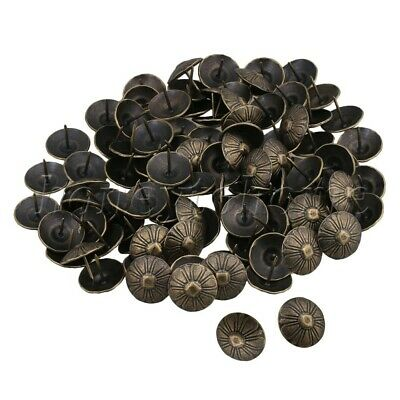 100pcs Vintage Style Upholstery Tacks Antique Bronze Brass Furniture Nails Pins