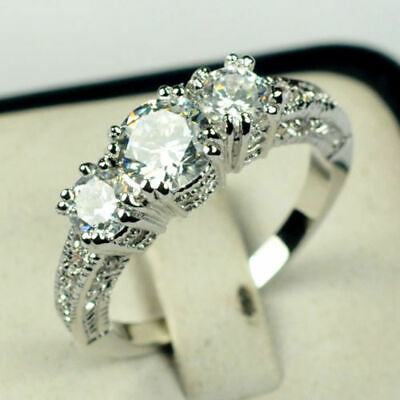 Size 5-10 White Sapphire Silver Wedding Band Ring 10KT White Gold Filled Jewelry