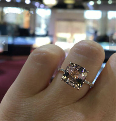Princess Cut Champagne Topaz 18k Rose Gold Wedding Ring Woman Gift