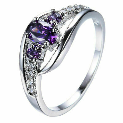 Purple Amethyst 10KT White Gold Filled Engagement Ring Women's Jewelry Size 6-10
