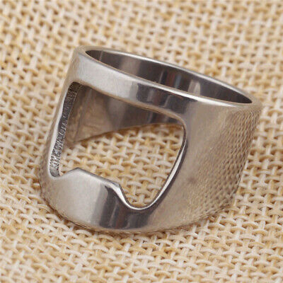 Fashion Cool Mens Stainless Steel Rings for Men Novelty Bottle Opener US 7-12