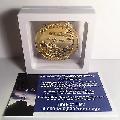 """""""RARE"""" Meteorite Medallion/Coin 45mm With Info/Cert and Display Stand Gold HGE"""