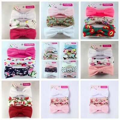 3Pcs/Set Newborn Girls Baby Bow Hairband Headband Stretch Turban Knot Head Wrap