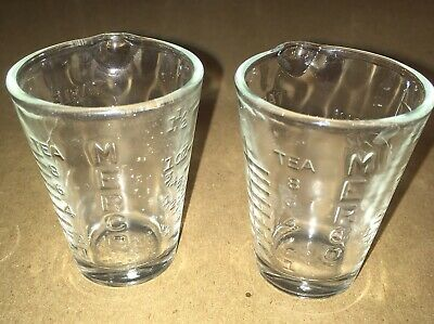 Two Vintage MERCO Glass Measuring Cups Pharmacy Apothecary