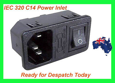 3Pin IEC320 Power Inlet Socket- Chassis Mount-With Fuse-DPST Rocker Switch