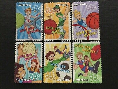 2009 Australian Let's Get Active set of 6 used P&S stamps