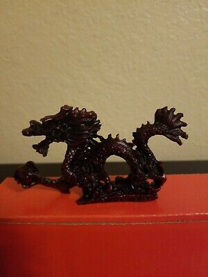 RED Chinese Feng Shui Dragon Figurine Statue for Luck & Success 5 inch Long