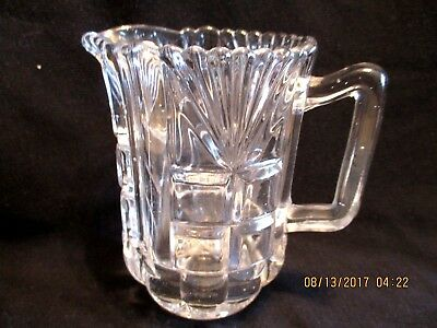 Vintage Small Clear Cut Pressed Glass Creamer Water Pitcher