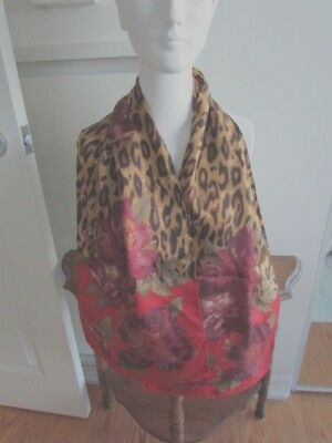 Scarf  Ralph Lauren Silk Oblong Animal Print Abstract Bronze Brown Floral