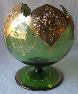 Antique Moser Bohemian Hand Painted Gold Enamel Art Glass Ivy Pedistal Bowl 7+""