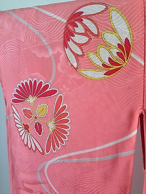 Pink Silk Kimono Japanese Vintage Costume Robe Boho Style One of a Kind SALE