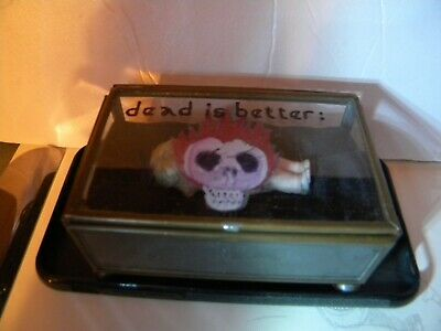 Brass or Copper Glass Coffin - Dead is Better -  Antique Bisque Doll Inside