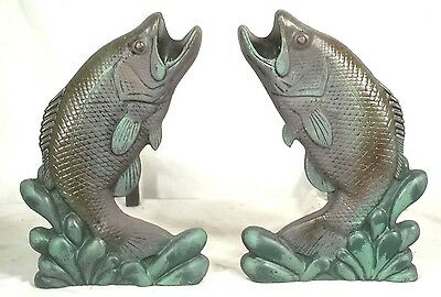 Pair Of Mid Century Painted Fish Leaping Trout Adirondack Cast Iron Andirons