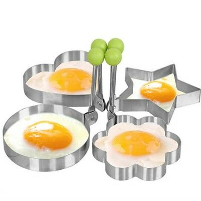 4pcs Stainless Steel Fried Egg Ring Pancake Mold Heart/Round/Star/Flower Shapes