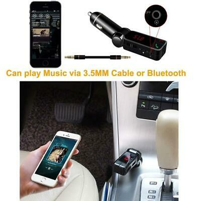 Car Wireless Bluetooth FM Transmitter Hands-free LCD MP3 Player Dual USB Charger