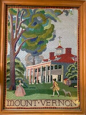 21x16 Solid Crewel Embroidery Mount Vernon Colonial Sampler George Washington