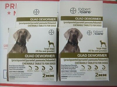 Bayer Quad Dewormer for Large Dogs 45lbs and Over 2 Chewable Tablets Set of 50