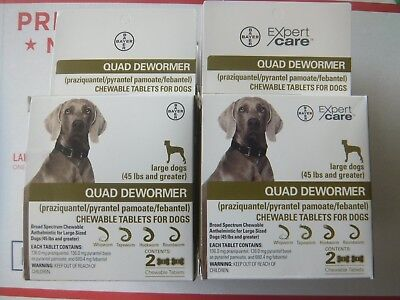 Bayer Quad Dewormer for Large Dogs 45lbs and Over 2 Chewable Tablets  2 Boxes